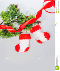 christmas crafts santa claus boots fleece handmade stock photo