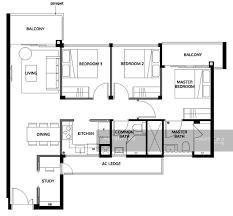 Wisteria Floor Plan The Wisteria Yishun Avenue 4 3 Bedrooms 969 Sqft Condominiums