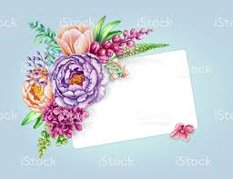 Invitation Blank Card Stock Watercolor Illustration Pastel Blue Floral Background Wild Flowers