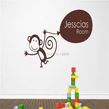 popular balloon animals monkey buy cheap gift monkey holding balloon personalised custom name wall stickers home decor diy poster vinyl decal
