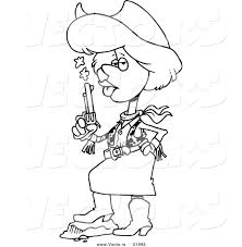 vector of a cartoon cowgirl blowing on a smoking gun outlined