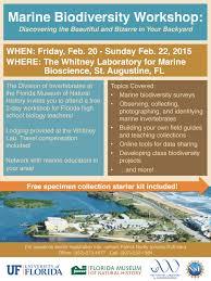 marine biodiversity workshop flyer the whitney laboratory for