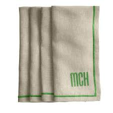 linen satin stitch dinner napkins and graham