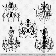 Black Chandelier Clip Art Chandeliers U0026 Birds Vectors Clipart Illustrations Creative Market