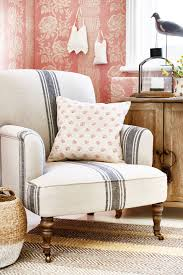 upholstered chairs living room prairie chic ticking stripe chair living room pinterest