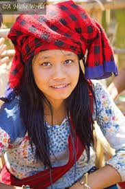 young myanmar village in traditional attire indein village