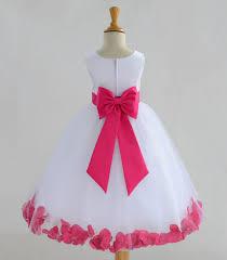 white flower dress bow sash pageant petals wedding bridal