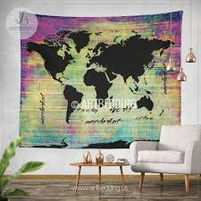 Watercolor Map Of The World by Bohemian World Map Watercolor Wall Tapestry Grunge World Map Wall