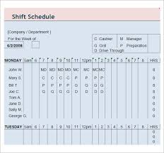 Employee Schedule Excel Template Sle Employee Schedule 5 Documents In Pdf Word