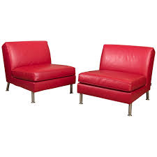Minotti Armchair Pair Of Italian Red Leather Lounge Chairs By Minotti At 1stdibs