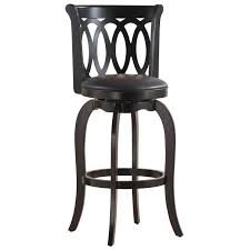 Leather Bar Stools With Back Black Natural Wood Bar Stool With Back And Round Leather Pad