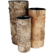 15 Inch Cylinder Vases Birch Bark Zinc Cylinder Vase Set Of 3 Sizes Vase Market