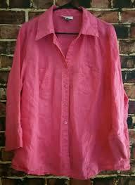 women pink dress barn button down 100 linen shirt size 22 24w