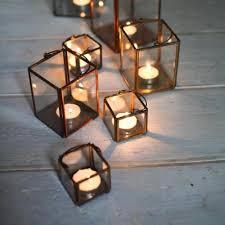 lantern tea light holder copper zinc or brass candle holder