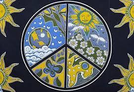 celestial sun moon peace sign boho hippie wall tapestry