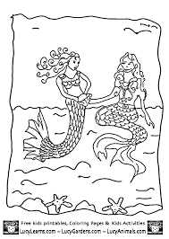 little mermaid coloring pages playing with older sister mermaid