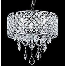 Chandelier With Black Shade And Crystal Drops Edvivi Epg801ch Chrome Finish Drum Shade 4 Light Crystal
