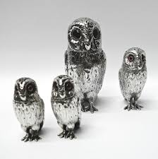antique silver owl condiment set by edward charles brown waxantiques