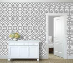 contemporary lattice all over wall stencil