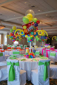 the centerpieces and table of treats in candyland decorations