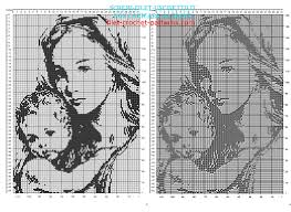 blessed virgin mary and child free filet crochet pattern 160 x 110