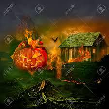 smiling carved jack o lantern halloween pumpkin face glowing
