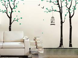 Nursery Tree Wall Decal Three Birch Trees And Birdcage Wall Decals