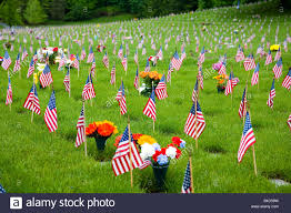 memorial flowers memorial flowers and flags in a graveyard in oregon usa stock