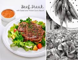 cuisine steak beef steak with salad and yellow curry sauce สเต กเน อซอสแกงกะหร