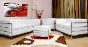 le corbusier style modern loveseat in white full leather