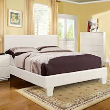 Platform Style Bed Frame Winn Contemporary Style White Finish Leatherette