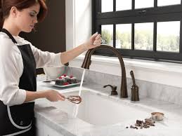Touch Activated Kitchen Faucets Faucet Com 980t Ar Dst In Arctic Stainless By Delta