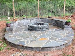 Building Flagstone Patio Diy Flagstone Patio With Firepit Home Design Ideas