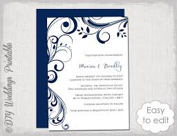 printable invitations navy wedding invitation template scroll printable invitations