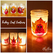 turkey leaf lanterns thanksgiving craft rhythms of play