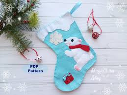 pdf pattern felt christmas stocking pattern polar bear snowflake
