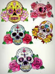 sugar skull sleeve pencil and in color sugar