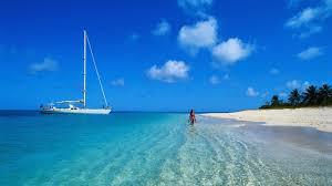 beach sky blue sea beach ocean sunshine sand coast tropics