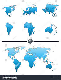 world map shape separated continents states stock vector 505297888