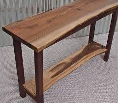 Walnut Live Edge Table by Live Edge English Walnut Sofa Table With Black Walnut Base