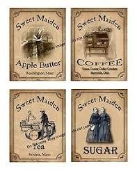 vintage primitive style sugar tea label instant download