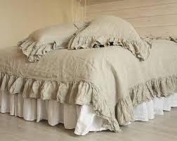 Linen Bedding Sets Ruffled Duvet Cover Etsy