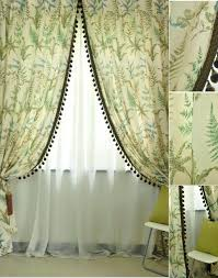 Beige And Green Curtains Decorating Cotton And Linen Green Leaf Window Country Curtains For Living Room