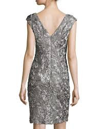 marina cap sleeve sequined lace cocktail dress in gray lyst