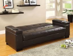 contemporary futon sofa bed logan espresso leatherette futon sofa w storage