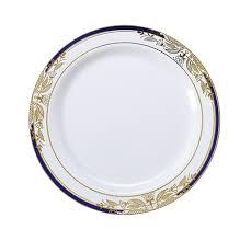 white plastic dessert plates blue gold plastic plates