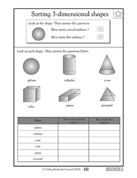 2nd grade 3rd grade math worksheets curved and flat 3