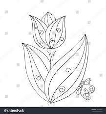 tulip flower butterfly isolated line art stock vector 546764641