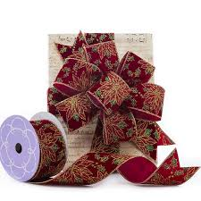 wired ribbon glorious poinsettia flocked wired ribbon shop papermart