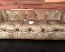 Distressed Chesterfield Sofa Leather Sofa Etsy